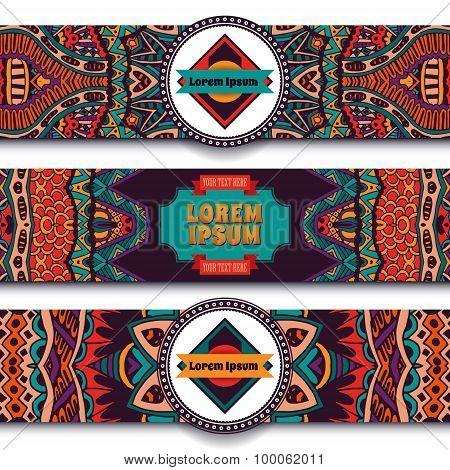 Festive colorful ornamental vector ethnic banner set