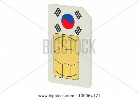 Sim Card With Flag Of South Korea