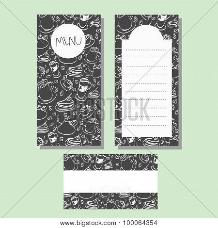 Menu and card template, coffee, tea, cake background pattern