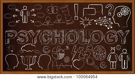 Chalk board doodle with symbols on psychology. Vector illustration. Set of education and learning do