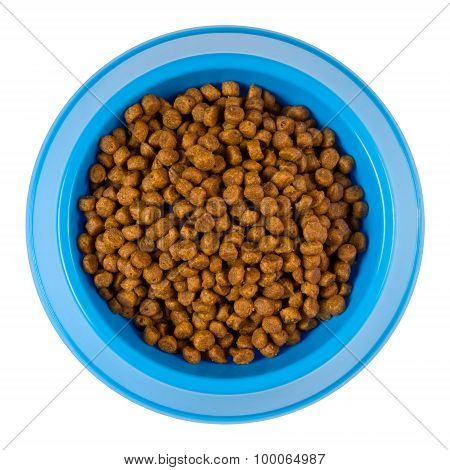 Dry Cat Food In A Blue Plastic Bowl From Above - Clipping Path