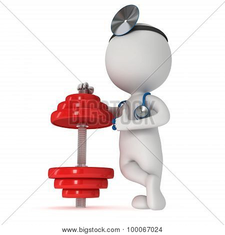 3D White People Doctor With Red Dumbbell