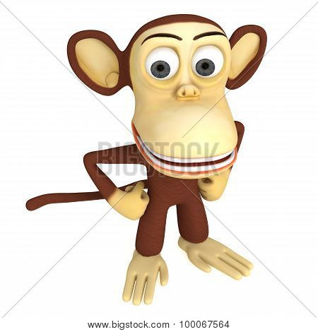 3D Cute Monkey With Arms Akimbo