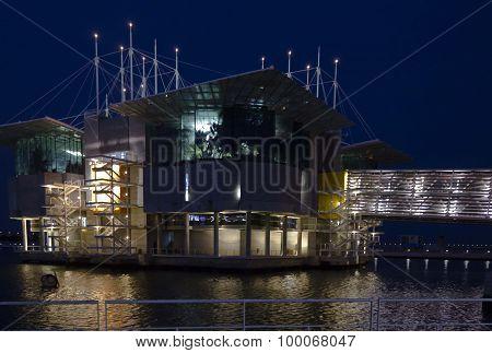 Lisbon Acquarium Building At Night
