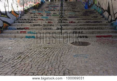 Stairway In Calcada Do Lavra In Lisbon