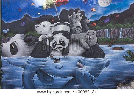 Panda Graffiti In Lisbon