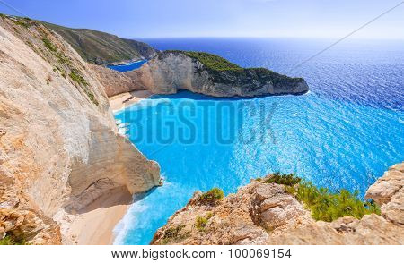 Panorama of Navagio Beach (Shipwreck beach) on Zakynthos Island, Greece