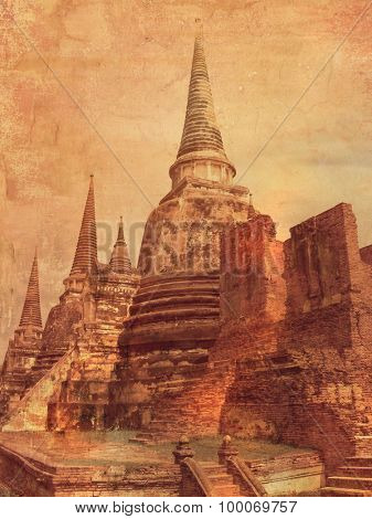 Ayutthaya in Thailand - old chedi - picture in vintage style