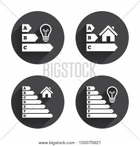 Energy efficiency icons. Lamp bulb and house.