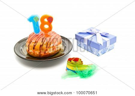 Donut With Eighteen Years Birthday Candle, Whistle And Gift