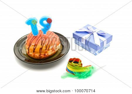 Donut With Nineteen Years Birthday Candle, Whistle And Gift