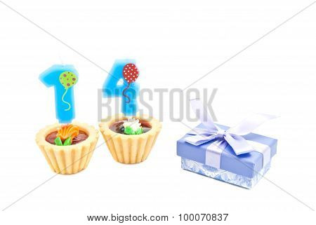 Cakes With Fourteen Years Birthday Candles And Gift