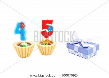 Cakes With Forty Five Years Birthday Candles And Gift