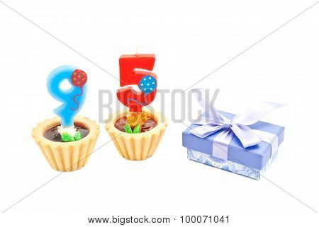 Cakes With Ninety Five Years Birthday Candles And Gift
