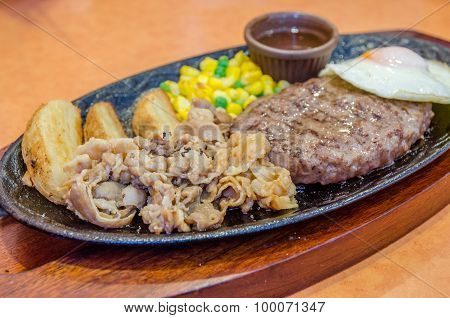Healthy Lean Grilled Medium-rare Beef Steak And Vegetables With Fried Egg