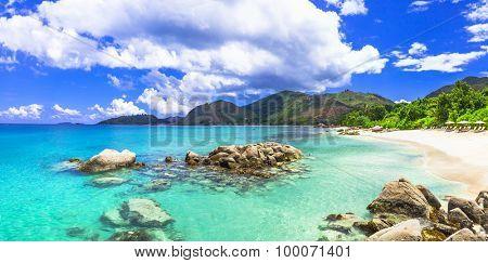 beautiful tropical scenery - panoarmic beach, Mahe island, SEych