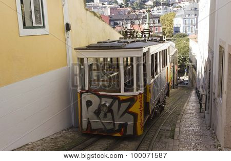 The Arrive Of Lavra Funicular In Lisbon