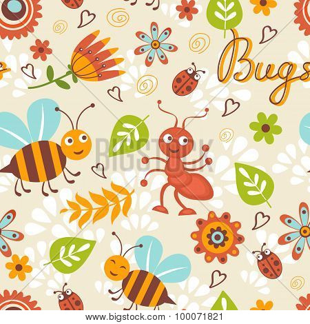 Cute bugs colorful seamless pattern