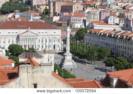 View From The Top Of Rossio Square In Lisbon, With D.maria Theatre And Pedro Iv Column Monument