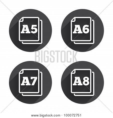 Paper size standard icons. Document symbol.