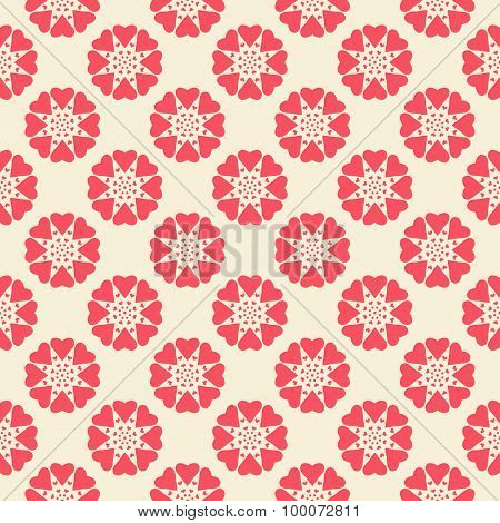 Floral  seamless pattern. Red and white shabby colors
