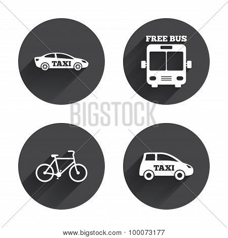 Public transport icons. Free bus, bicycle signs.