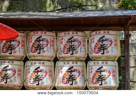 Barrels of sake (nihonshu) in the Meiji Shrine