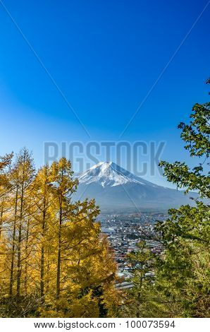 Mount Fuji With Blue Sky From Lake Kawaguchi, Japan