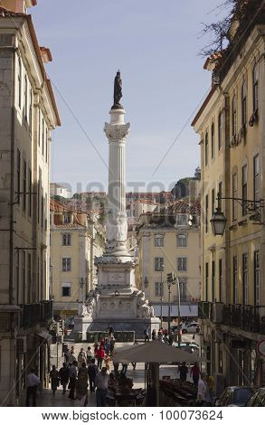 Column Of Pedro IV In  Rossio Square In Lisbon