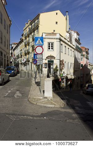 Traditional Slope Street In Bairro Alto
