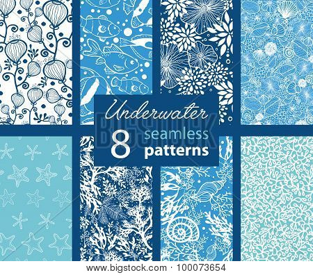 Vector Underwater Life Eight Set Seamless Pattern. California Coast Seeweed and Tropical Fish.