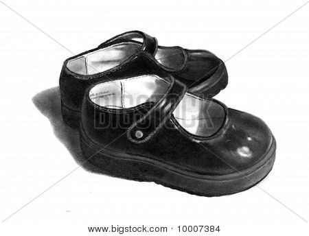 Freehand Pencil Drawing of Little Black Shoes