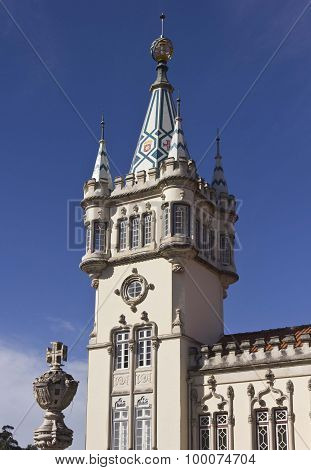 Close Up Detail Of The Tower Of Sintra Town Hall Building