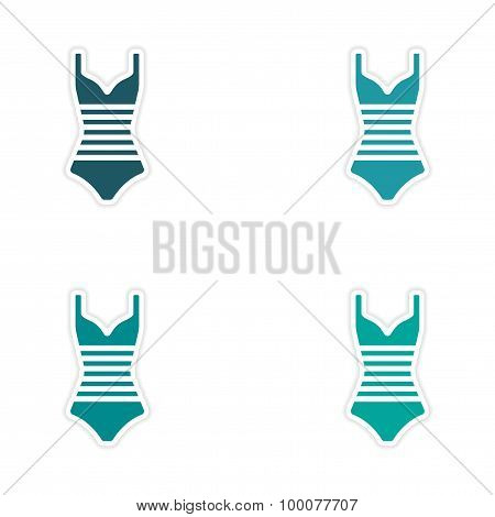 assembly realistic sticker design on paper swimsuit