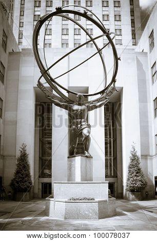NEW YORK CITY, USA - SEPTEMBER, 2014: Atlas statue in front of Rockefeller Center New York City