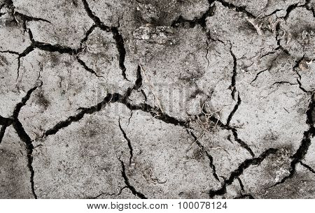 Dry Of Cracked Clay Ground Texture Background.