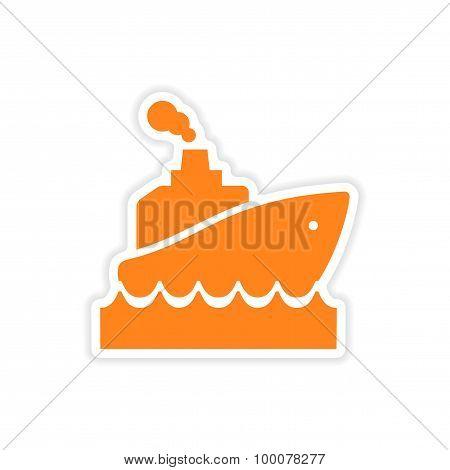 icon sticker realistic design on paper ship wave