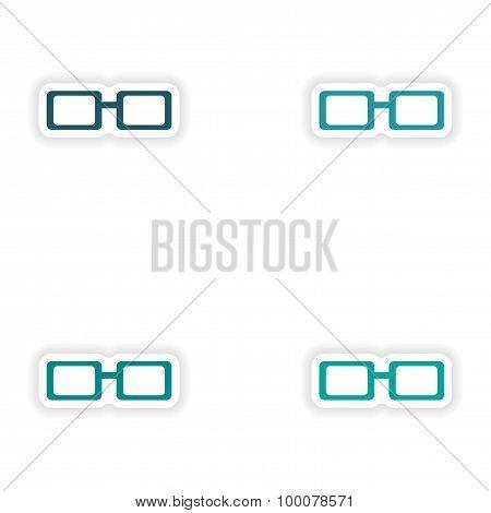 assembly realistic sticker design on paper eyewear