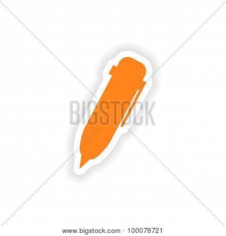 icon sticker realistic design on paper pen