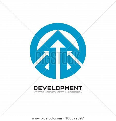 Development - abstract business concept illustration. Arrows and circle - vector creative logo.