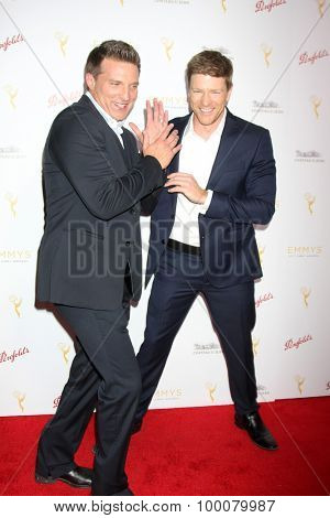 LOS ANGELES - AUG 26:  Steve Burton, Brugess Jenkins at the Television Academy's Daytime Programming Peer Group Reception at the Montage Hotel on August 26, 2015 in Beverly Hills, CA