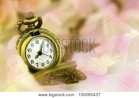 Vintage Pocket Watch With Rose Bouquet On Pastel Tone Background.