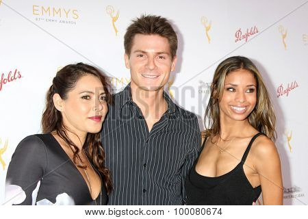LOS ANGELES - AUG 26: Elena Tovar, Robert Palmer Watkins, Brytni Sarpy at the Television Academy's Daytime Programming Peer Group Reception at the Montage Hotel on August 26, 2015 in Beverly Hills, CA