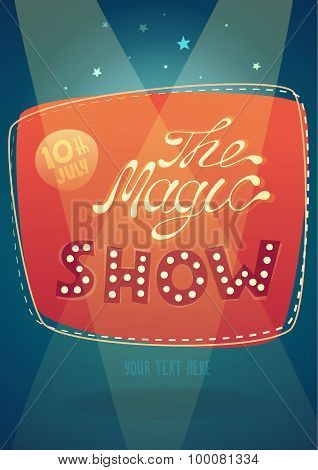the magic show signboard background vector illustration, flat style