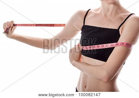 Girl Measures The Volume Of The Breast. Weight Loss.