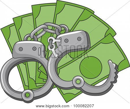 Illustration of a Pair of Handcuffs Sitting on Top a Pile of Money