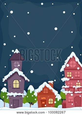Illustration of a Village on a Peaceful Snowy Evening