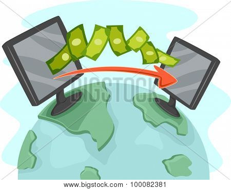 Illustration of Two Computers Facilitating Online Money Transfer