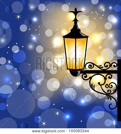 Vintage street lamp, dark winter background