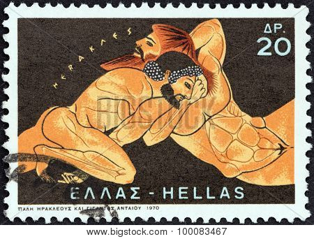 GREECE - CIRCA 1970: A stamp printed in Greece shows Hercules and Antaeus
